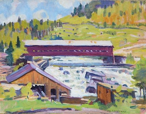 Artwork by Peter Clapham Sheppard, Covered Bridge Over Wild Water (Northern Quebec)