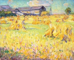 Artwork by Manly Edward MacDonald, Hay Stooks in Summer