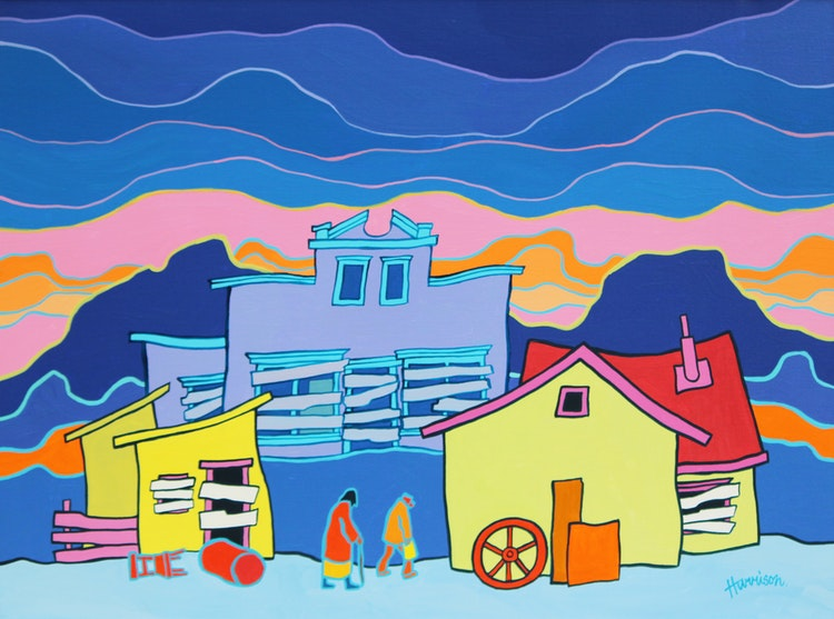 Artwork by Ted Harrison,  Deserted Memories