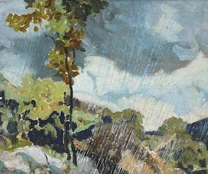 Artwork by Joachim George Gauthier, Rain - Haliburton, 1950
