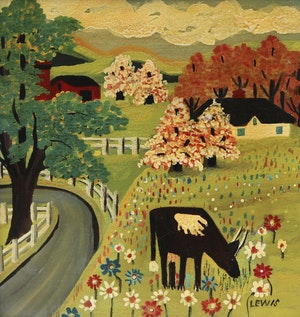 Artwork by Maud Lewis, Cow in Springtime