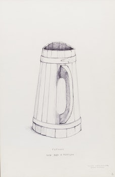 Artwork by William Kurelek, Large wooden pitcher for taking drinking water to fields