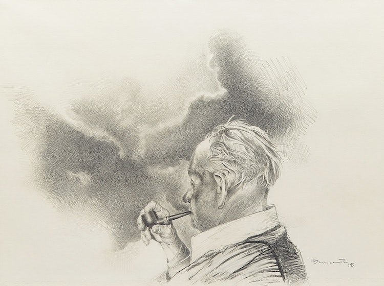 Artwork by Barry McCarthy,  Man with a Pipe