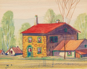 Artwork by Graham Noble Norwell, Rural Home; Cabin by the River