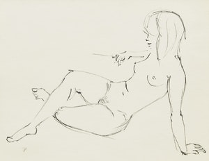 Artwork by Paul Duval, Nude Reclining; Standing Nude