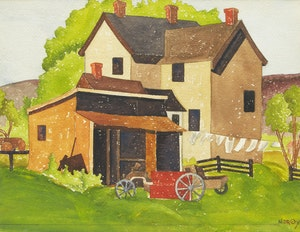 Artwork by Paul Duval, Farmhouse, Hogg's Hollow, 1935