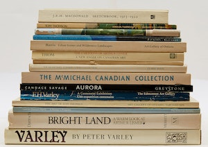 """Artwork by  Books and Reference, Fifteen Reference Books related to Tom Thomson and The Group of Seven (with transparency of the """"Northern Lights"""" by Tom Thomson)"""