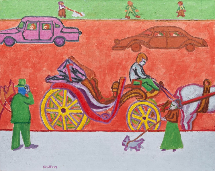 Artwork by John Godfrey,  Horse and Carriage at Rest