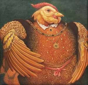 Artwork by Lindee Climo , Muffed Rooster as Henry the VIII (after Holbien)
