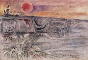 Artwork by William Abernethy Ogilvie, Setting Sun and Rock Form, Georgian Bay, 1984