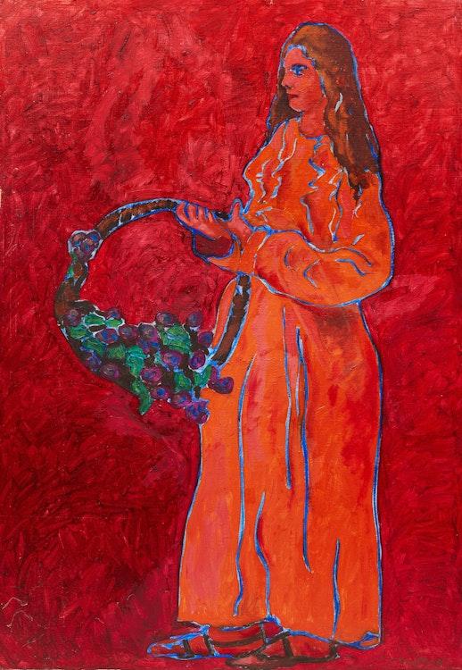 Artwork by John Godfrey,  Portrait of Woman in Orange