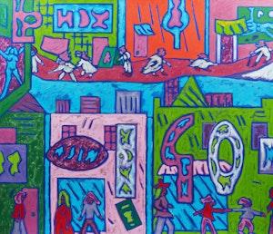 Artwork by John Godfrey, City Streets, Feb. 1974