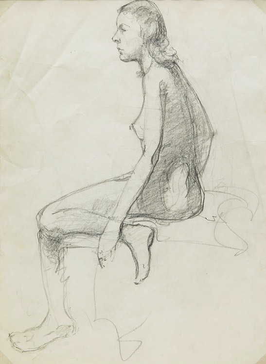 Artwork by Manly Edward MacDonald,  Nude Sketch of a Woman; Portrait of a Man in a Hat