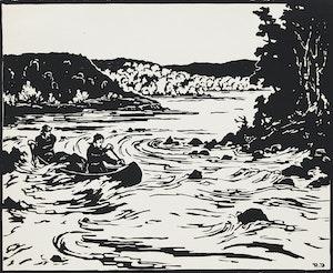 Artwork by Rodolphe Duguay, Aurore boréale; Sur le St. Maurice, 21 avril 1936