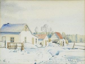 Artwork by Donald Appelbe Smith, Farm, Winter