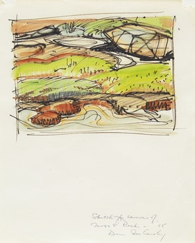 Artwork by Doris Jean McCarthy, Sketch for Canvas of Moss and Rocks