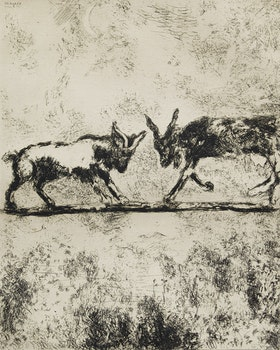 Artwork by Marc Chagall, Les Deux Chèvres (The Two Goats), Les Fables de la Fontaine, 1952 [plate 98, Cramer 22]