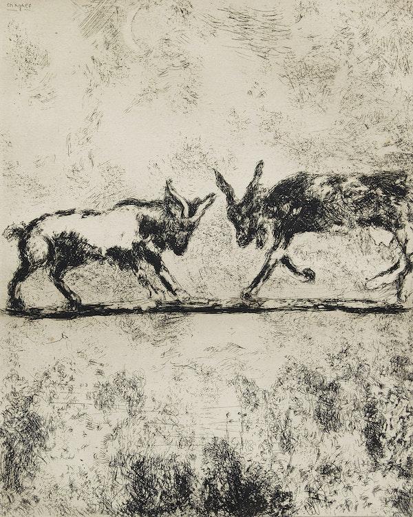 Artwork by Marc Chagall,  Les Deux Chèvres (The Two Goats), Les Fables de la Fontaine, 1952 [plate 98, Cramer 22]