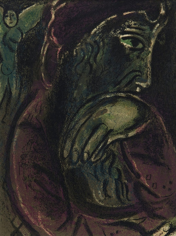 Artwork by Marc Chagall,  Job Désespéré (Job Disconsolate), from Dessins pour la Bible, 1958-60 [Mourlot 254, Cramer 42]