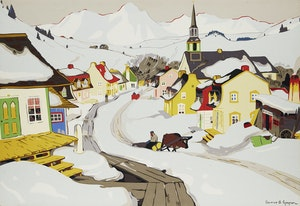 Artwork by Clarence Alphonse Gagnon, Village in the Laurentians