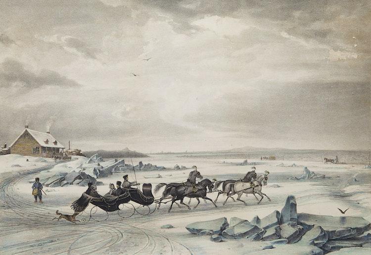 Artwork by Cornelius Krieghoff,  Sledge Race Near Montreal