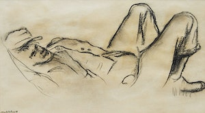 Artwork by Louis Muhlstock, Reclining Figure; Portrait of a Man