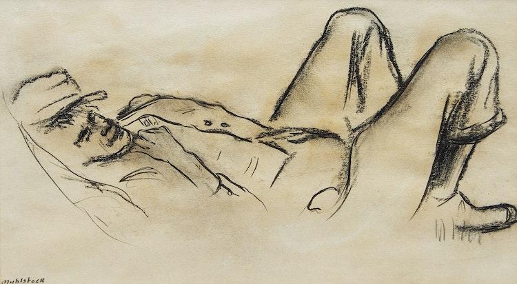 Artwork by Louis Muhlstock,  Reclining Figure; Portrait of a Man