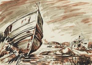 Artwork by Frederick Hagan, Lake Boats, Gravenhurst, Muskoka