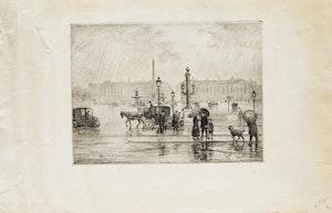 Artwork by Frank Milton Armington, La Pluie, Place de la Concorde, Paris