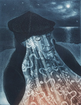 Artwork by David Lloyd Blackwood, Mummer in Lantern Light