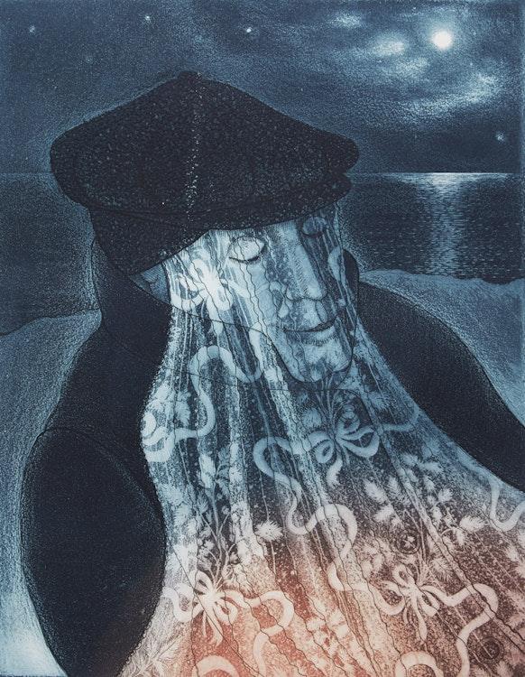 Artwork by David Lloyd Blackwood,  Mummer in Lantern Light
