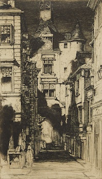Artwork by David Young Cameron, Town Scene