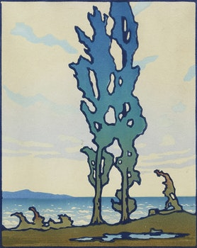 Artwork by Leonard Hutchinson, Van Wagner's Beach