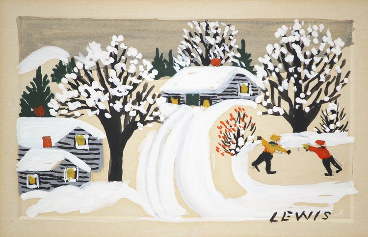 Artwork by Maud Lewis,  The Skaters