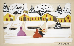 Artwork by Maud Lewis, Walking to Church