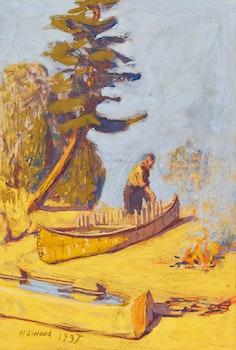 Artwork by William John Wood, Building a Canoe