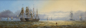 Artwork by Adolphus Knell, Shipping on Calm Seas