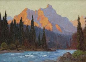 Artwork by Roland Gissing, Sunset Saddle Mt.