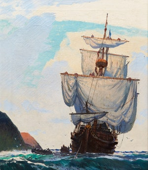 """Artwork by George Franklin Arbuckle, Seascape (Inspired by """"The White and the Gold"""")"""