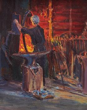 Artwork by Farquhar McGillivray Strachan Knowles, Blacksmith Shop
