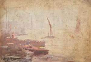 Artwork by Frederic Marlett Bell-Smith, Boats by the Shore