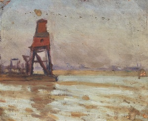 Artwork by Frederic Marlett Bell-Smith, Grain Elevator by the Shore