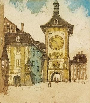 Artwork by Nicholas Hornyansky, Clocktower, Berne; Silent Wheels