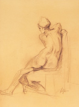 Artwork by John Alfsen, Female Nude Seated, Backview