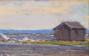 Artwork by Manly Edward MacDonald, Fishing Shacks, Point Anne