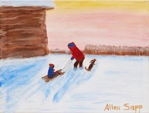 Artwork by Allen Sapp, Sledding in Winter