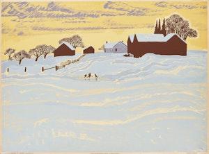 Artwork by Thoreau MacDonald, Winter Evening
