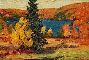 Artwork by Herbert Sidney Palmer, Autumn Glow, Mountain Lake, Haliburton