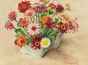 Artwork by Frederick Bourchier Taylor, Zinnias