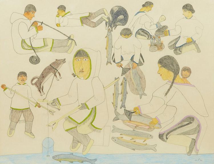 Artwork by Nancy Pukingrnak Aupaluktuq,  Fishing